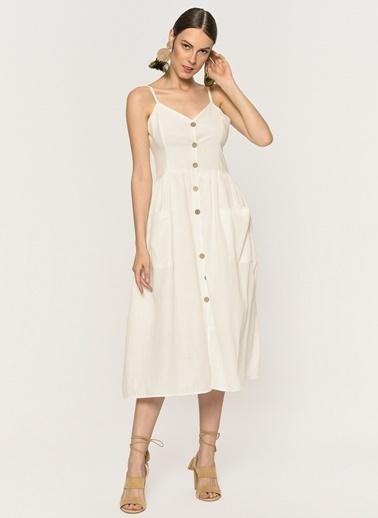 Loves You Astarlı Askılı Düğmeli Keten Elbise Beyaz